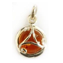 bijou celtique triskel, pendentif en argent avec ambre