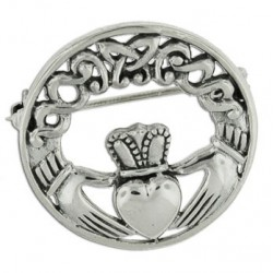 Broche Claddagh rond celtique 8.8g