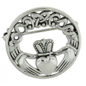 Claddagh and celtic circle brooch