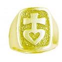 chevalière Toulhoat Croix au cœur