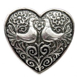 Toulhoat 2 birds heart brooch