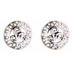 Openwork round triskel earrings button