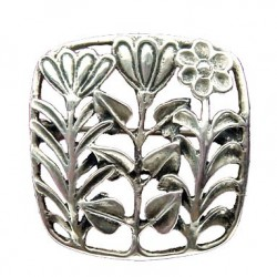 Toulhoat 3 flowers square brooch