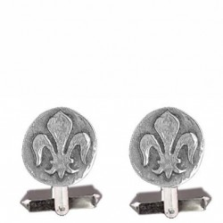 Round lily medal cufflink