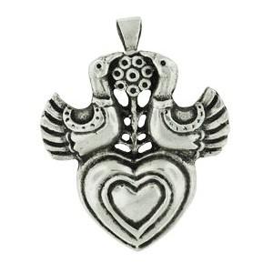 Toulhoat Doves heart brooch 7.2g