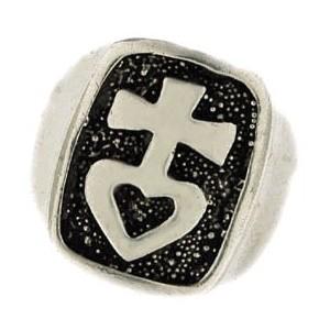 cross & heart signet ring 13g