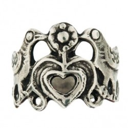 Toulhoat 2-birds-&-1-heart ring 3.8g