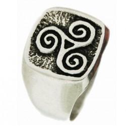 Toulhoat squared triskel signet ring 9g