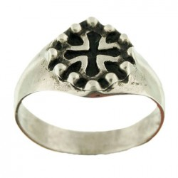 Toulhoat middle-sized Oc-cross signet ring 3.5g