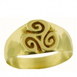 Toulhoat middle Triskel signet ring 5.8g