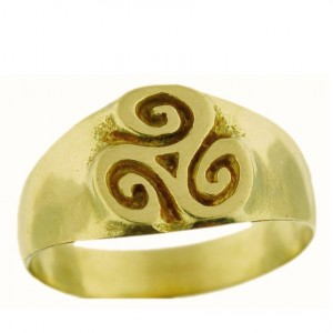 Toulhoat middle Triskel signet ring 5.8g