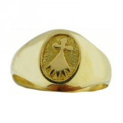 Toulhoat oval ermine middle signet ring 5.7g