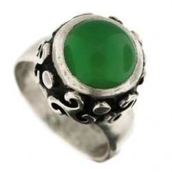 Toulhoat green agate triskel ring 6.2g
