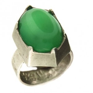 Toulhoat panelled green agate ring 9.9g