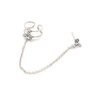 Ring linked to a stud with a chain solid silver 09g